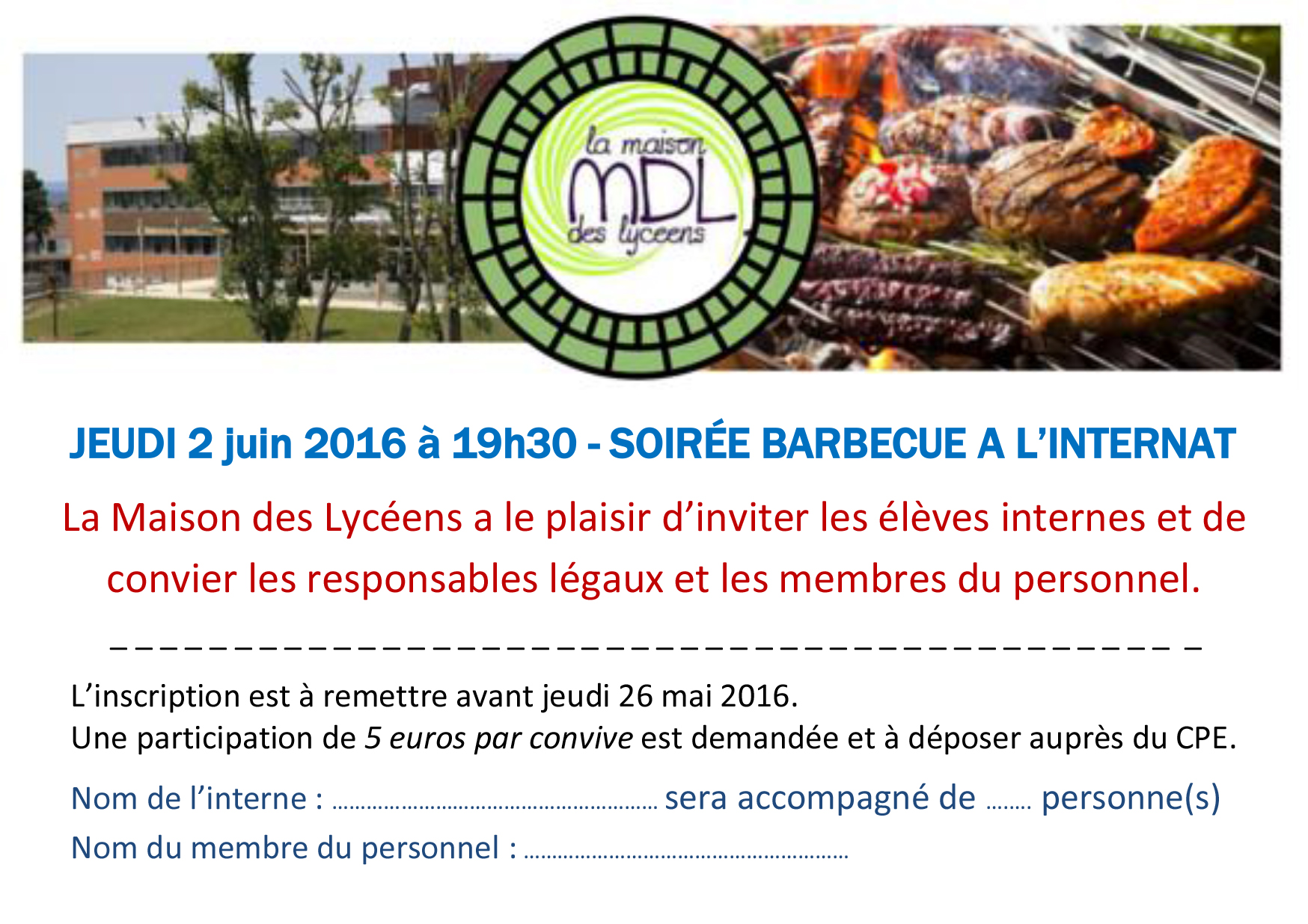 Invitation Barbecue 2016